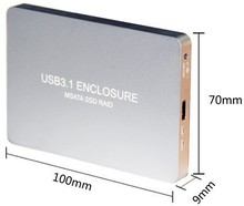 Q15743 Sliver WBTUO USB3.1 Type-C to 2-Ports MSATA SSD RAID HDD Enclosure