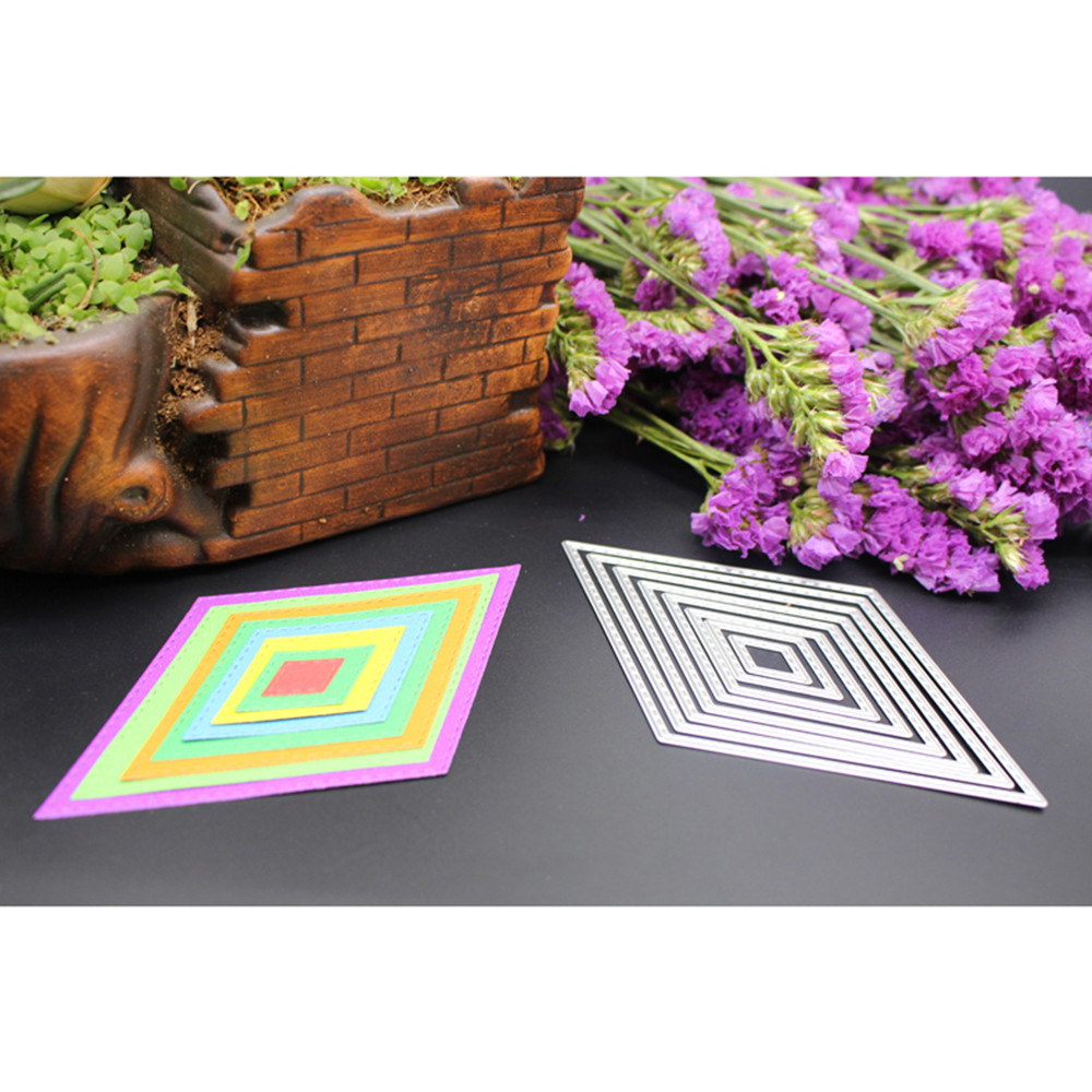 8Pcs//Set Cutting Dies Stencil Frame for DIY Scrapbooking Album Paper Card Craft