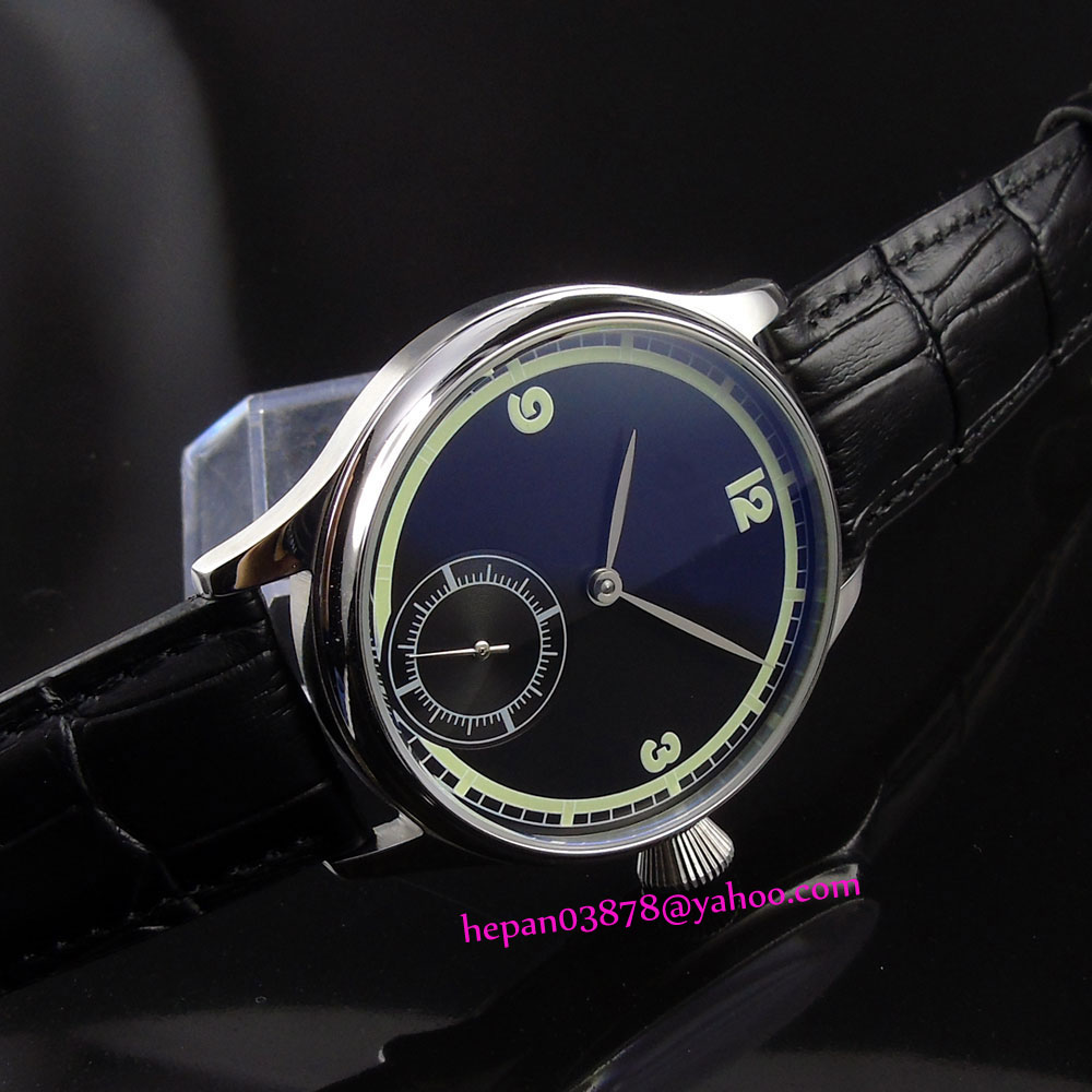 44mm Corgeut black sterile simple dial polished stainless steel case 6498 Mechanical Hand Wind movement men's watch P187 купить недорого в Москве