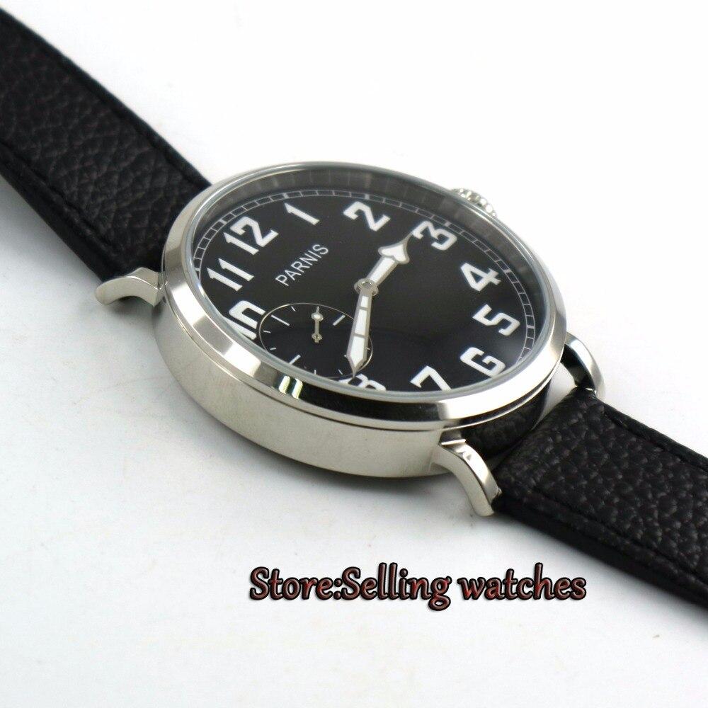 46mm parnis cadran noir lumineux 6497 remontage à la main bracelet en cuir montre hommes P2-in Montres mécaniques from Montres    3