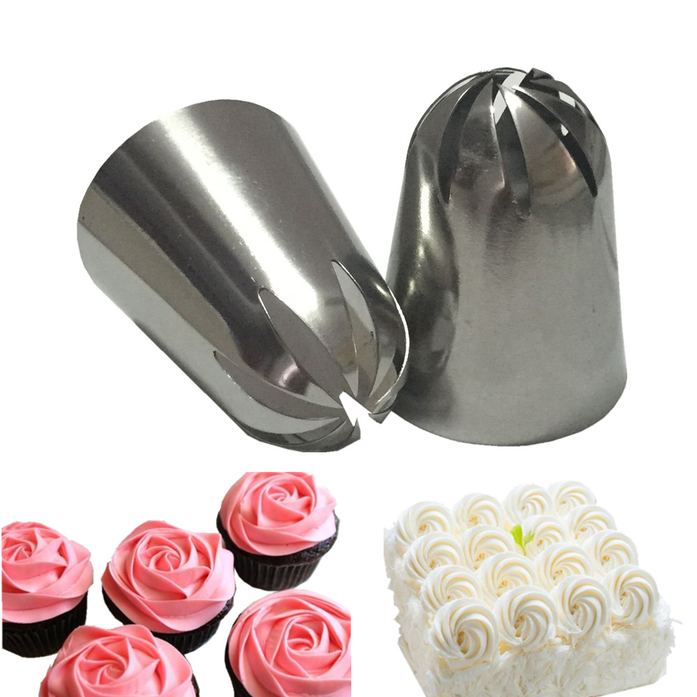 2 PCS Large Cream Nozzle Pastry Stainless Steel Icing Piping Tips Set Cupcake Cakes Decorating Baking Tools Russian Pastry Tips
