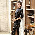 Hot Sale Ladies Dress Novelty Charming Black Velour Qipao Long Cheongsam Top Prom Gown Dress Flowers Size S M L XL XXL XXXL