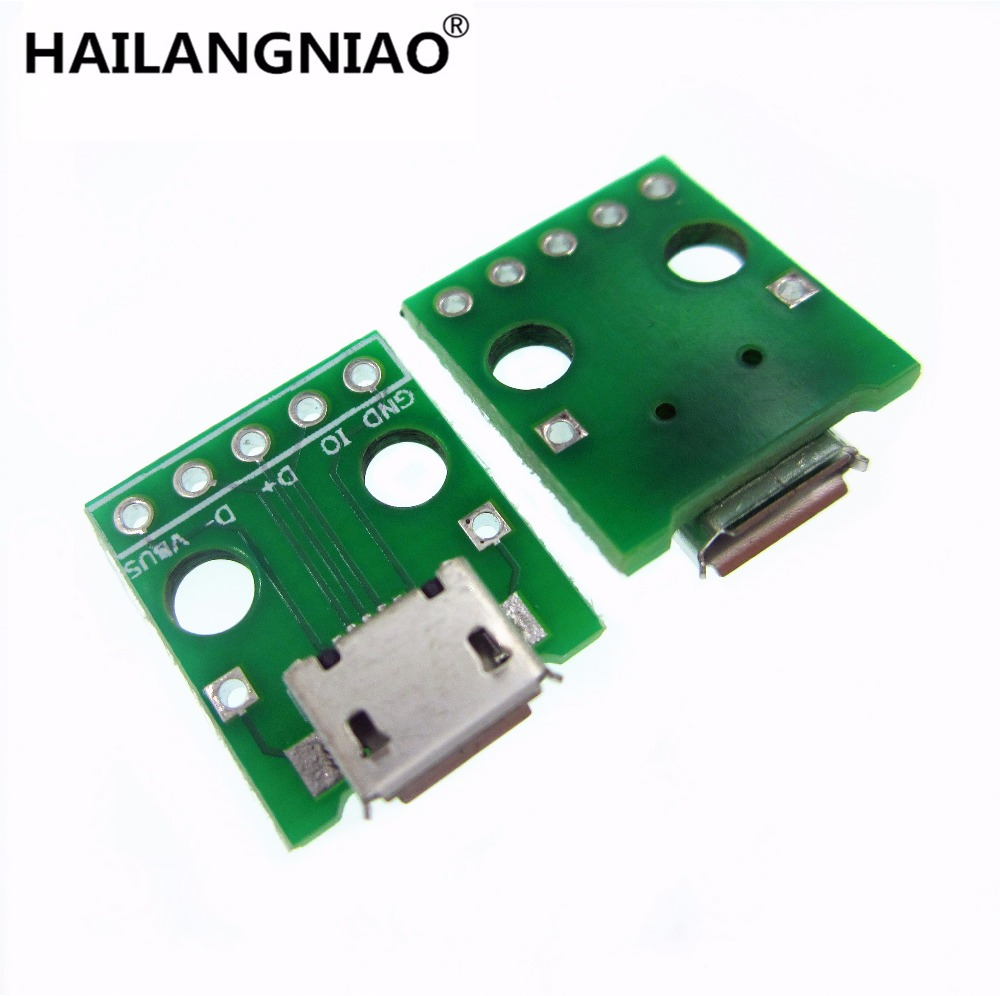 10pcs MICRO USB to DIP Adapter 5pin female connector B type pcb converter pinboard 2.54 usb to fast ethernet adapter где