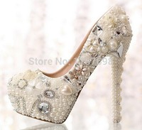 2017 Love pearl rhinestone bridal crystal shoes single shoes high heeled shoes 14cm women's shoes platform wedding 34 39
