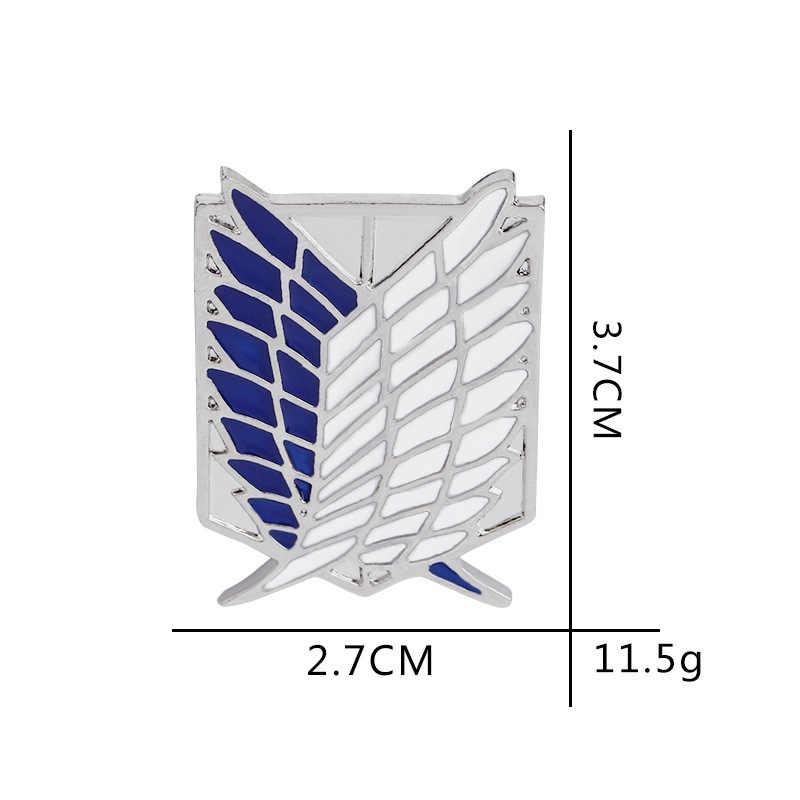 Moda takı Titan pimleri emaye kanatları broş siyah beyaz mavi tüy Pin Metal Mini dev Legion bayrağı rozeti pimleri