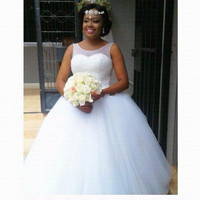 2019 New Luxury Beading Wedding Dress Custom made Bridal Gown Vestido De Noiva