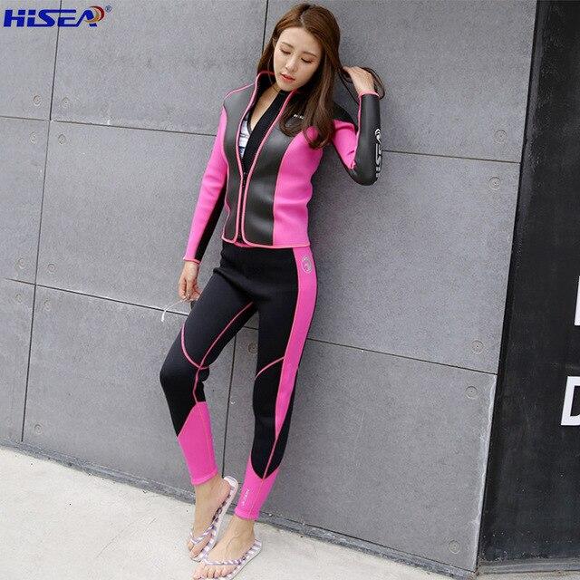 Hisea 2 5MM Women Diving Equipment bodysuit coat trousers Rashguard Tights Neoprene Wetsuit Diving Jacket Long