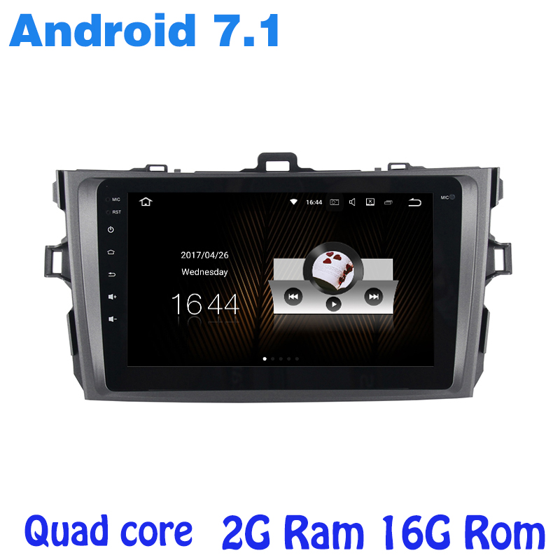 Quad core Android 7.1 car radio gps for toyota corolla altis 2006-2013 with 2G RAM wifi 4G USB RDS audio stereo mirror link NAVI
