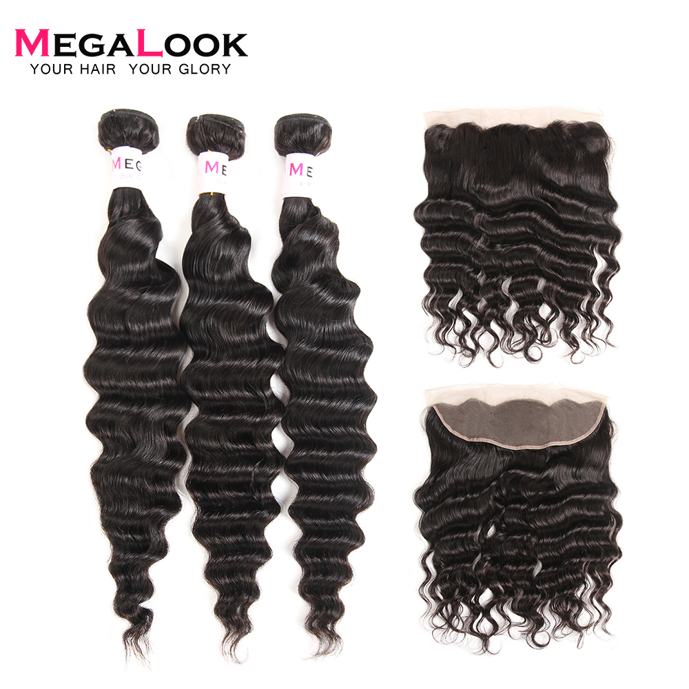 Megalook Loose Deep Lace Front Closure with Bundles Peruvian Remy Human Hair Bundles with Frontal image