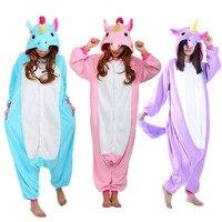 New Animal Cosplay Costume Adult Blue Pink Purple Unicorn Pajamas Sleepwear Pyjamas Unisex Onesies Cartoon Sleepsuit