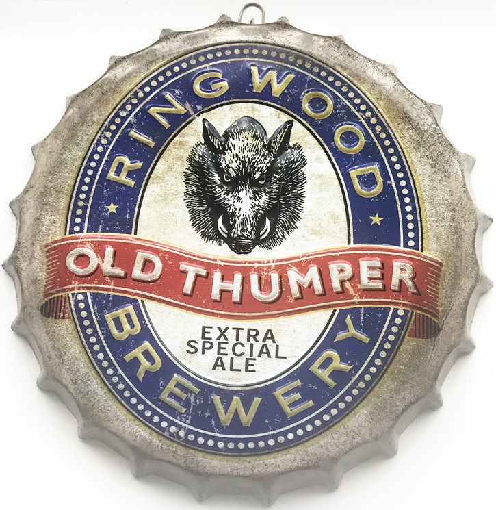 35cm Ring Wood Old Thumper Brewery Round Beer Bottle Cap