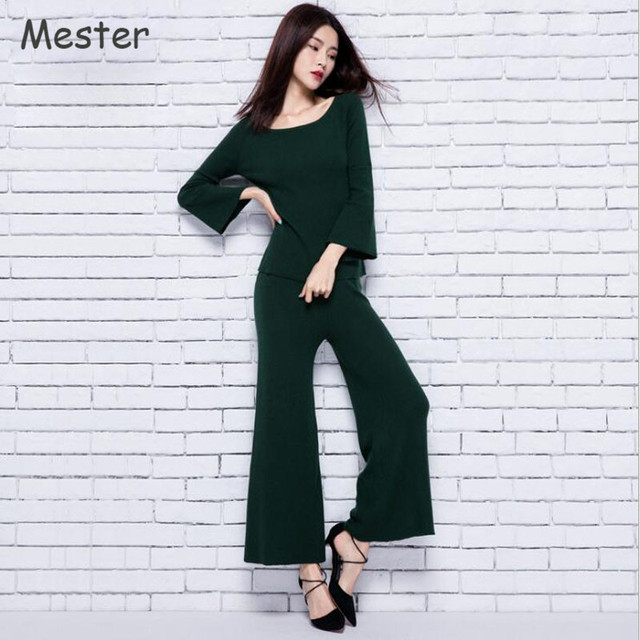 Women 2 Piece Pants Sets Elegant Three Quarter Flare Sleeve Silk Cashmere  Knitted Tops and Elastic Waist Wide Leg Pants Suit 35731c17e6