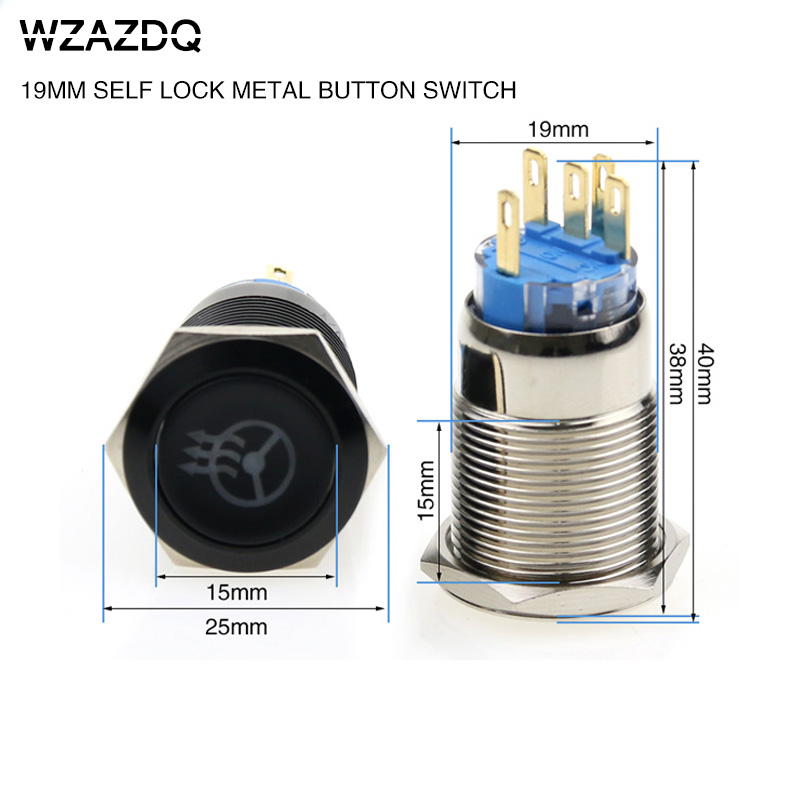 19 mm metal self-locking button switch oxidation black steering wheel heating switch voltage 6V12V24V220V. цены онлайн