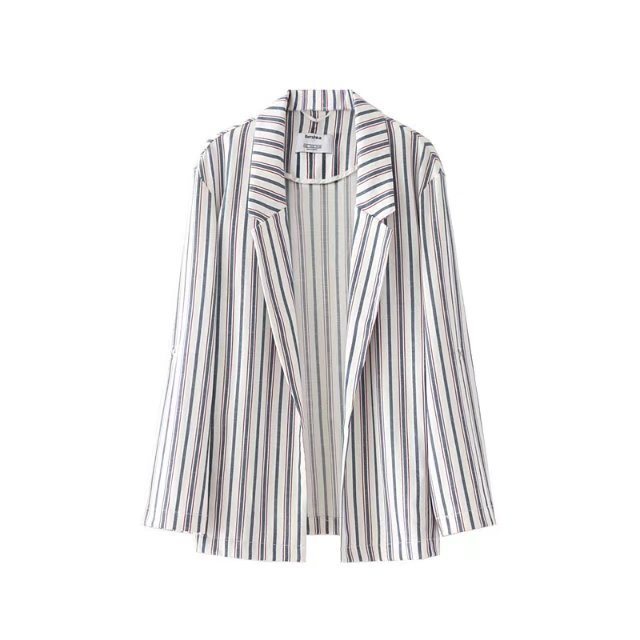 Women Striped Thin No Placket Blazer 2017 Autumn Long Sleeve Notched Women Coat Blazers
