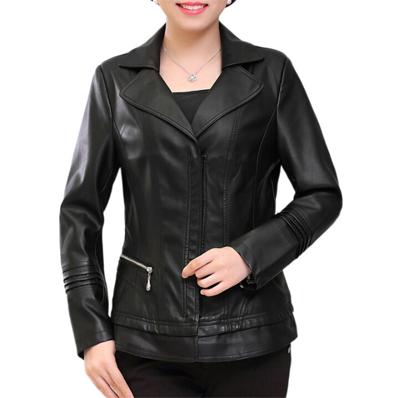 Black   Leather   Coat Women Plus Size 5Xl Slim Fit Spliced   Suede   Jackets Ladies Elegant Pu   Leather   Coats Mother Faux   Leather   A3412