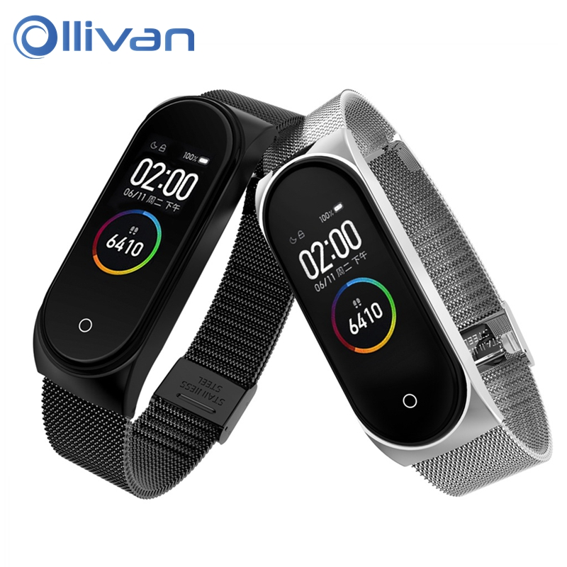 Miband 4 Metal Strap For Xiaomi Mi Band 4 Smart Stainless Steel Bracelet Replaceable Miband 3 Wristbands Watch Band With Buckle strap