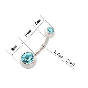 Image 2 - Medische Staal (100 Stuks/partij) buik Navel Button Rings Body Piercing Sieraden Groothandel 14G Chirurgisch Staal Met Dubbel Kristal