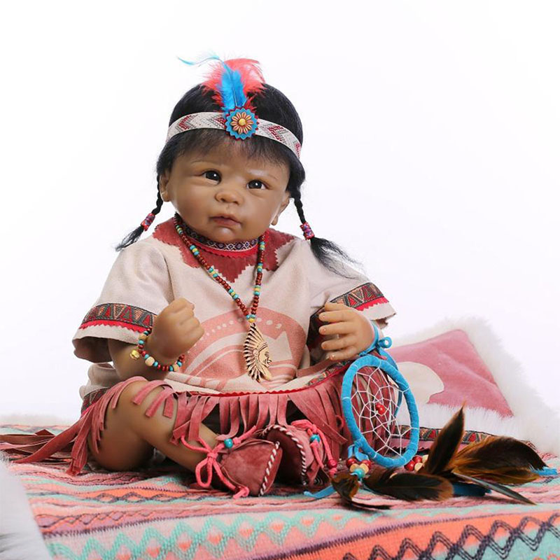 22American Indian Doll Handmade Soft Silicone Reborn Baby Doll Alive Black Skin Toddler Dolls Toys for Children Birthday Gifts mara s dream new arrival small dot zero printed girl s coin purses wallet bag pouch brand lady mini wallet with metal buckle