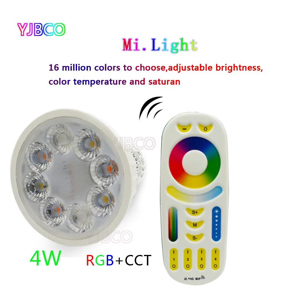 4 w MiLight AC86-265V HA CONDOTTO LA Lampadina GU10 Dimmable HA CONDOTTO LA Luce Della Lampada RGB + Bianco Caldo + Bianco (RGB + CCT) il riflettore Dell'interno Soggiorno