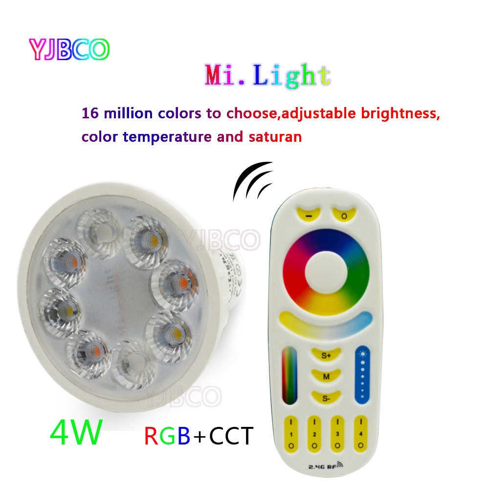 4W MiLight AC86-265V LED Bulb GU10 Dimmable LED Lamp Light RGB+Warm White+White (RGB+CCT) Spotlight Indoor Living Room e27 led rgb magic lamp lamp 6w ac85 265v 220v rgb led light spotlight ir afstandsbediening controle and white white
