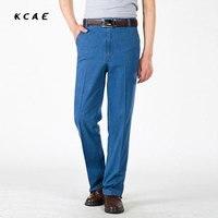 Hombres Vaqueros hombres elástica relajación cintura alta Vaqueros viajes de negocios Pantalones casual Primavera Verano mini Pantalones casual