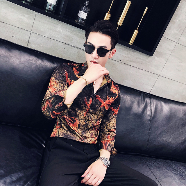 Red Floral Men Stylish Fit Long Sleeve Shirt