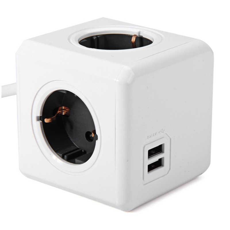 Allocacoc ue podłącz 1.5/przedłużacz 3 M przez dłuższy Powercube listwa zasilająca elektryczny 4 outlet 2 porty USB podróży adapter wiele gniazd