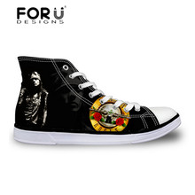 Men's Fashion High Top Canvas Shoes Guns N Roses Pattern Flats Shoes for Men Casual Lace-up Walking Shoes,Female Male Footwear