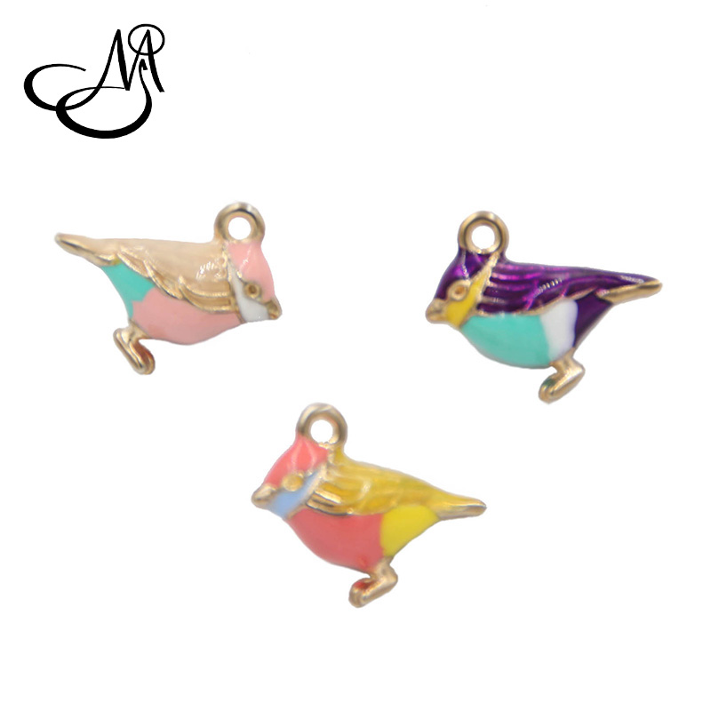 2018 New Fashion Jewelry Charms 20pcs Alloy Dangle Charms Enamel Litter Bird Bee Charm Pendants DIY Charm for Necklace Bracelet