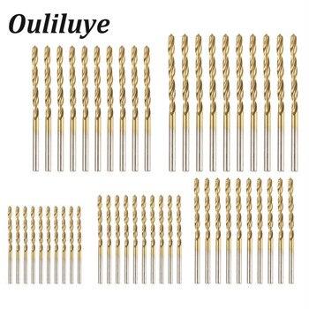 цена на 50PCS Titanium Cobalt Drill HSS Cobalt Drill Set Shank Twist Drilling Wood Cutters Drills Hole Cutter Tools 1/1.5/2/2.5/3mm