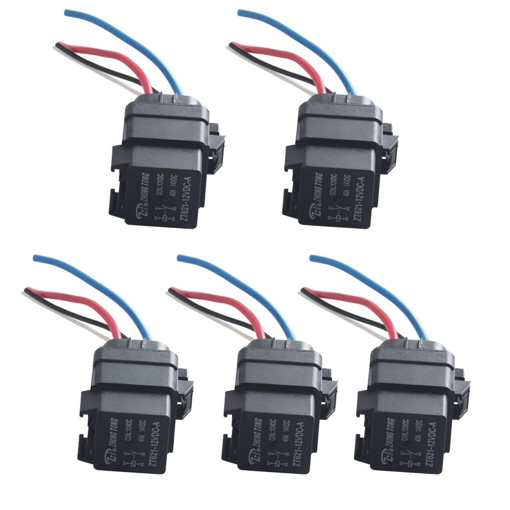 EE support 5Pcs Auto Truck Car Styling 12V 40A SPST Relay Socket ...