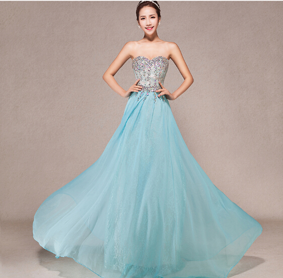 2019 New Elegant Exquisite Sky Blue Floor Length   Prom     Dresses   Beaded Top with Chiffon Skirt Formal Party Gowns TB003