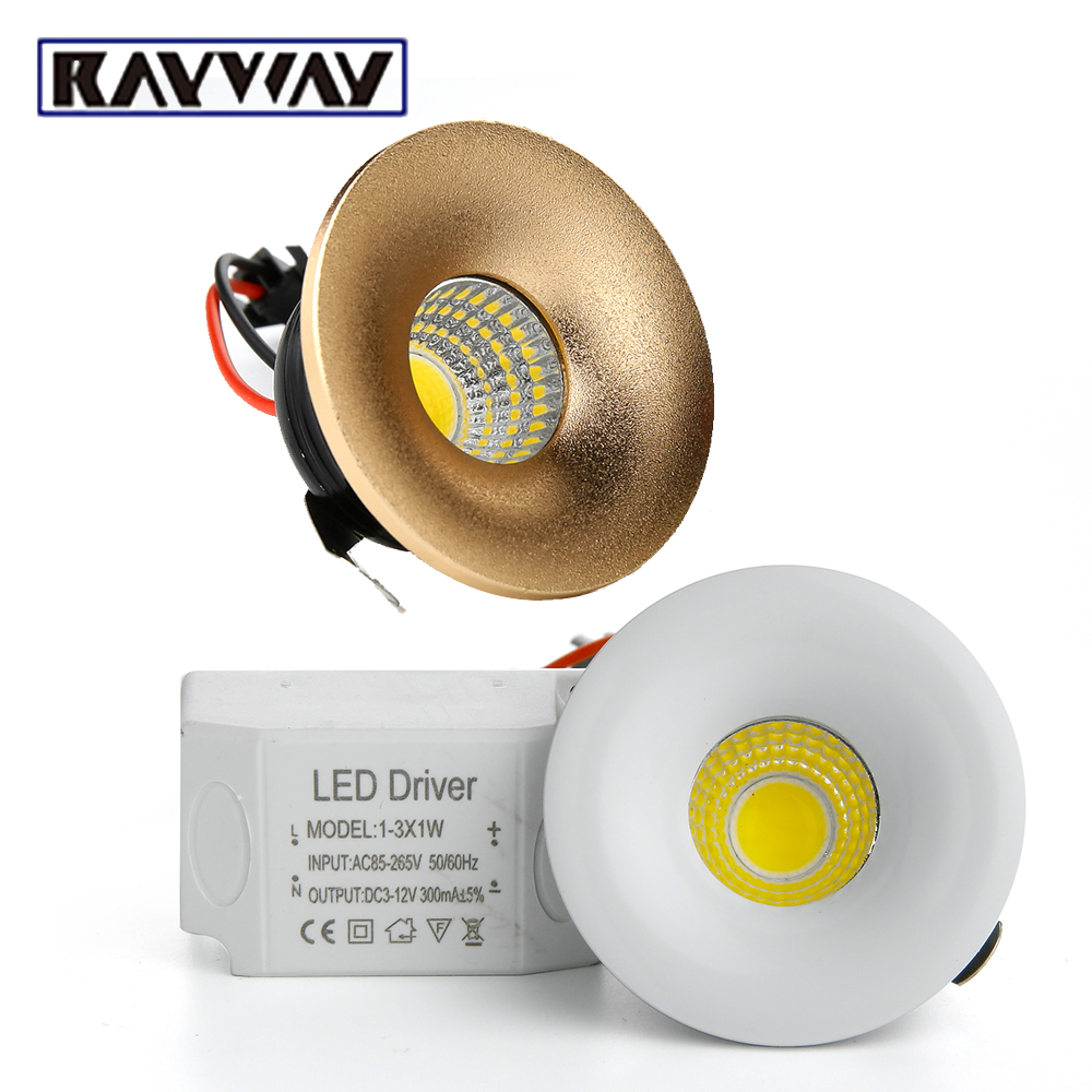 RAYWAY led Ceiling Down lighting 3W COB mini Recessed dimmable LED Spotlights Light bulb for Cabinet counter showcase 110V 220v