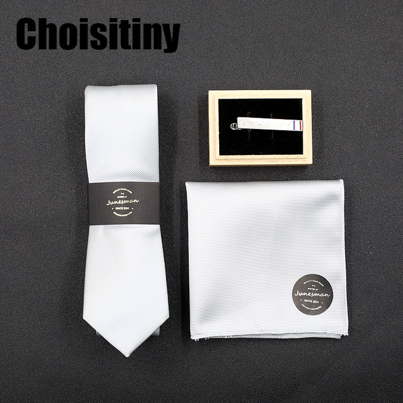Fashion Top Gravata Tie Hanky Cufflink Clips Sets Gift Box Neckties Ties for Mens Business Wedding Party Free Shipping
