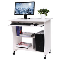 Homdox New Movable Wooden Table Computer Desk Home Office Study Workstation Keyboard Shelf N40