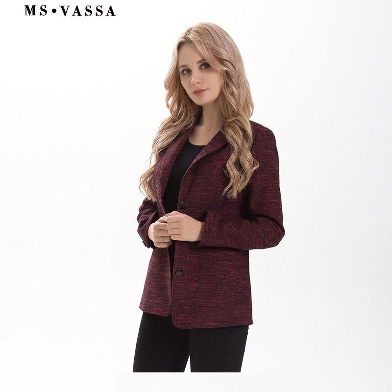 MS VASSA Printemps blazer Femmes 2017 mode mince trois bouton fermeture blazer entaillé col plus la taille XS 6XL vêtements de travail