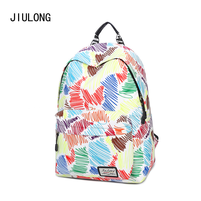 The New Korean Tide Canvas Simple Graffiti Printing All match Leisure Backpack Female College Student Bag