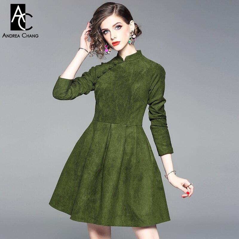 fb8db0c30d0b Du Hiver Verte Style Mode Vintage Mignon Femme Chinois Genou Automne Vert  Dessus Robe Col Bal ...