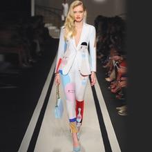 Yeni tasarımcı yüksek kalite pist beyaz iki parça takım elbise bir düğme ceket Blazers ayak pantolon soyut sanat boyama takım elbise kadınlar 2019