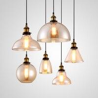 Light Bulb Pendant Light Copper Glass Restaurant Pendant Light Single Pendant Light Vintage Retractable Wall Lamp