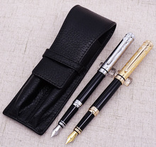 Duke Noble Sapphire Fountain Pen Golden/Silver Cap 2 Pens with Real Leather Pencil Case Bag Holder Writing Set