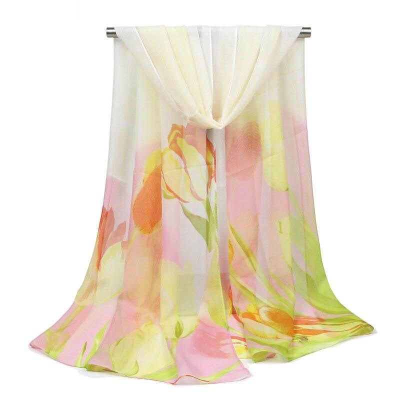 Shawl Scarf For Women New Thin Silk Scarf Print Flower Oil Painting Feminine Scarf Hijab Long Section Chiffon Shawls Beach Towel