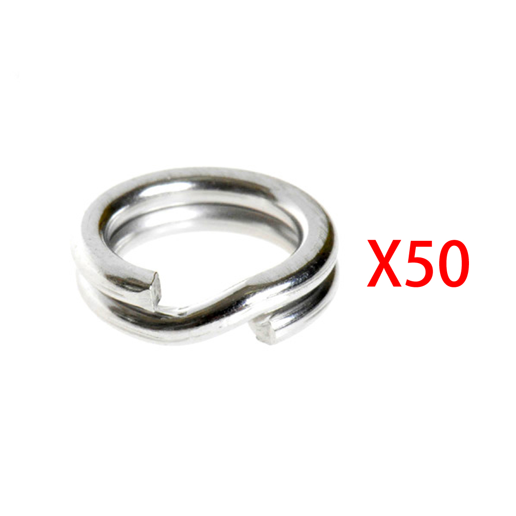 50Pcs Fishing Solid Stainless Steel Snap Split Ring Lure Tackle