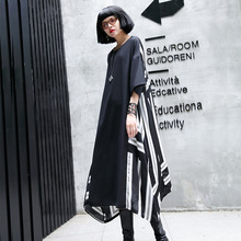 Oversized Women Short Sleeve Back Striped Chiffon Dresses Ladies Fashion Streetwear Hip Hop Punk Gothic Loose Plus Size Dress