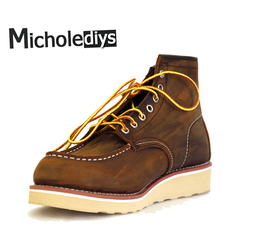 Micholediys Handmade All-matcing Vintage lace up New Spring Leather Mens Platform Brown Shoe Red Breathable wing Work Shoes USA