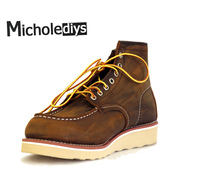 Micholediys Handmade All matcing Vintage lace up New Spring Leather Mens Platform Brown Shoe Red Breathable wing Work Shoes USA
