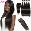 7A Unprocessed Brazilian Virgin Hair Straight With Closure 4 Bundles With 4*4 Lace Closure Human Hair Weave With Closure On Sale