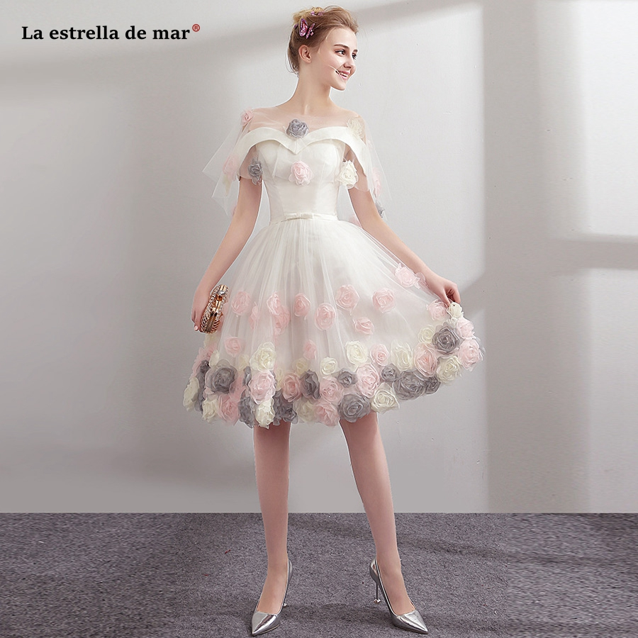 Sukienka Koktajlowa 2019 New Lace Embroidery Flower Set Of 2 Ivory Detachable Cocktail Red Dress Short Plus Size Prom Dresses