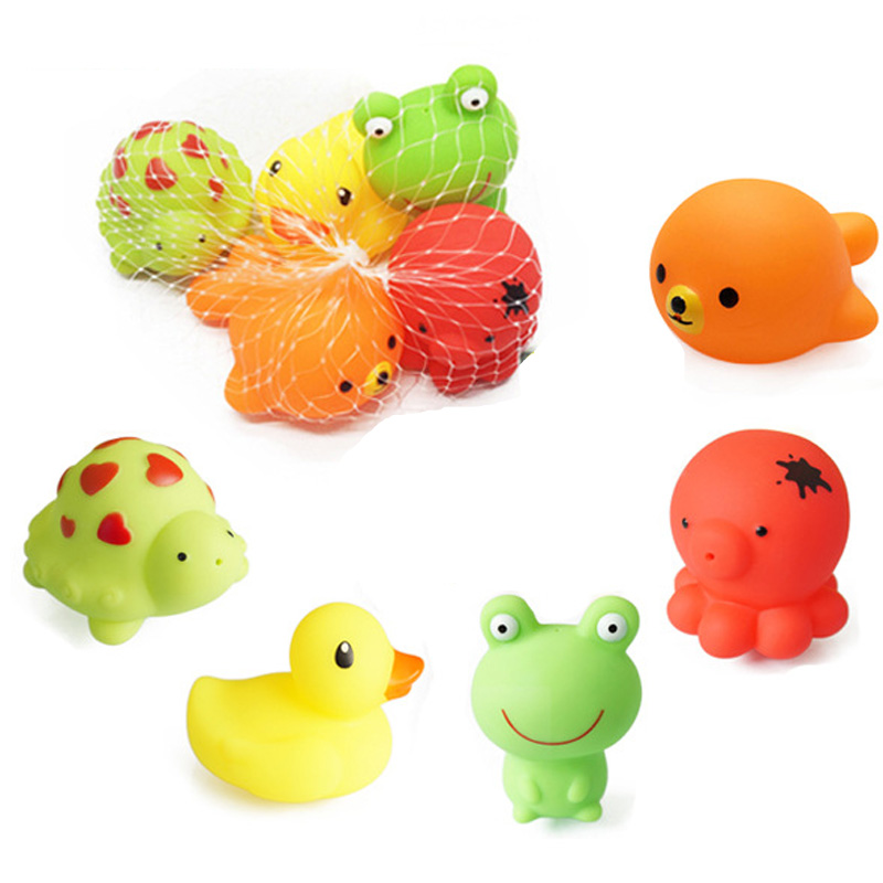 Wholesale 50pcs/lot Soft Baby Bath Toys Cartoon Animals Frog Tortoise Duck Model Water Spraying Toys For Kids Bath Toy Toys & Hobbies