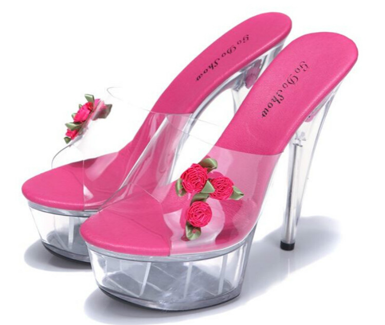 ФОТО Sweet flower super high heels shoes 14cm thin heel wedding shoes glass slipper Princess waterproof sandals and slippers